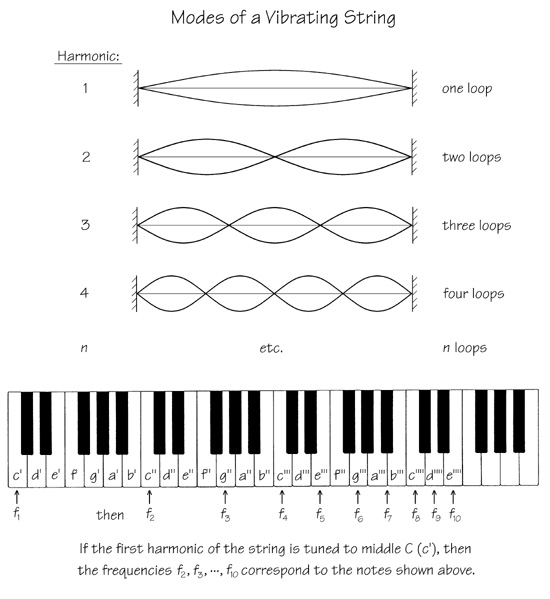 The harmonics of a vibrating string fixed at both ends